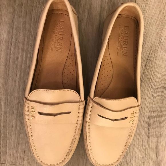 Ralph Lauren Beige Leather Loafers